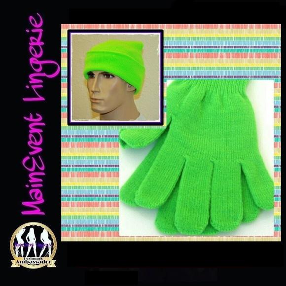 Men Women Knit Beanie   Gloves Neon Green combo 3911241c59